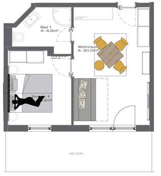 "Ground plan Appart ""Friends L"" (Nr. 13)"