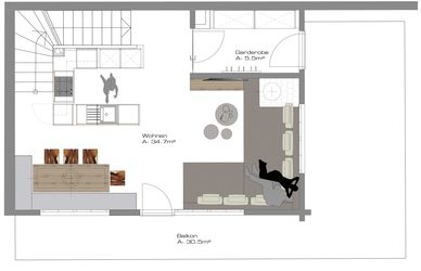 Chalet 1 - ground plan first floor