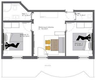 "Ground plan Appart ""Friends XL"" (Nr. 14)"
